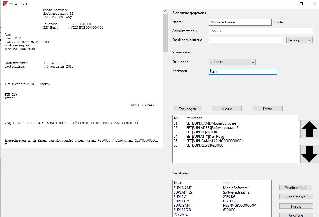 PDFinvoice2UBL handleiding basisfuncties
